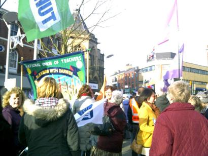 STRIKE Protesters in Blackburn town centre this afternoon. Pic: Michelle Greaves