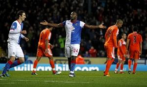 FEED THE YAK Ayegbeni Yakubu celebrates scoring Rovers' fourth goal