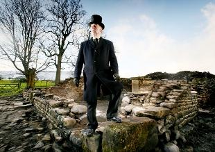 EERIE Simon Entwistle among the ruins of the site that was unearthed.