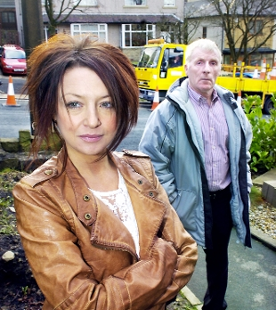 PARKING PLACE Coun Jimmy Eaton, with Jemanie Dixon on her proposed driveway in Waterfoot