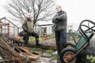 UP IN ARMS Brian Watts, left, chairman and Frank McVan, treasurer, of Baxenden Allotment and Garden Society