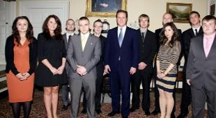 DAY TO REMEMBER Jamie Woodruff, top, and, above, with Prime Minster David Cameron and other ambassadors at 10 Downing Street