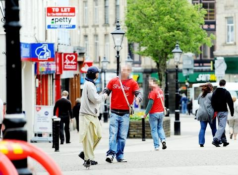 TWO-DAY LIMIT Charity workers in Burnley town centre