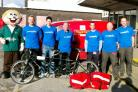 PEDAL POWER The charity bikers with their trusty machine – they set off this weekend for Edinburgh on a tour for the Make-A-Wish Foundation inspired by the Olympic Games