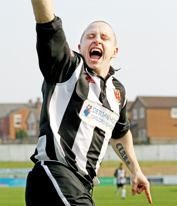 DELIGHT Striker Steve Foster celebrates scorring Chorley's first goal in their 5-1 romp over Hednesford on Saturday