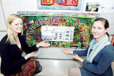 HERITAGE Louise Jacobsson, right and Jessica Downer with the work of art at Manchester Airport
