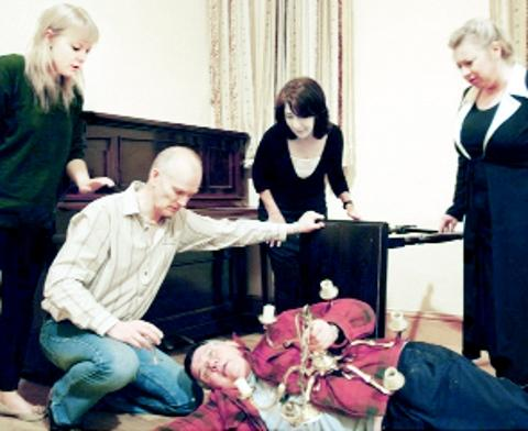 DEATH Oswaldtwistle Players cast members, from left, Rachael Perkin, Peter Holden, John Dewhurst, Clare Highton and Catherine Allan.