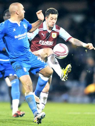 Danny Ings fights for the ball in last night's defeat to Birmingham at Turf Moor