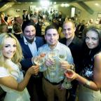 NEW VENTURE Laura Reihl, restaurant owners Adam and Matt Chapman, Danny Fallows and Kate Chapman toast the launch of the refurbished Sirlion Pub in Hoghton.