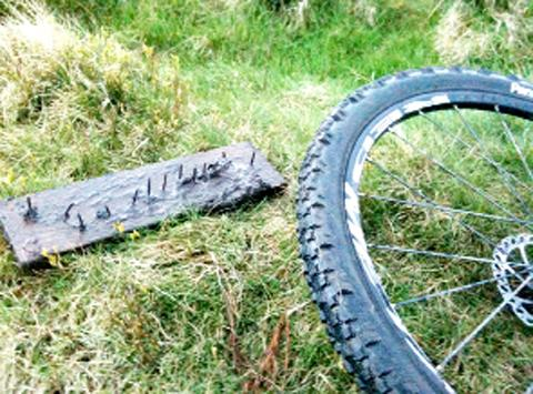 The nail trap discovered on Darwen Moors.