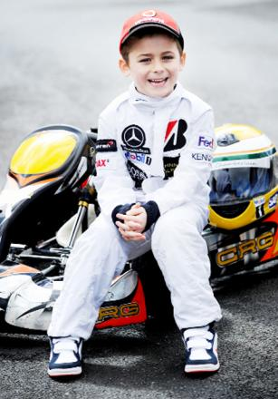 Six-year-old karting ace Noah Chamberlain.