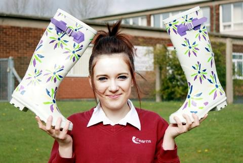 COOL Courtney-Lea with the wellies she designed