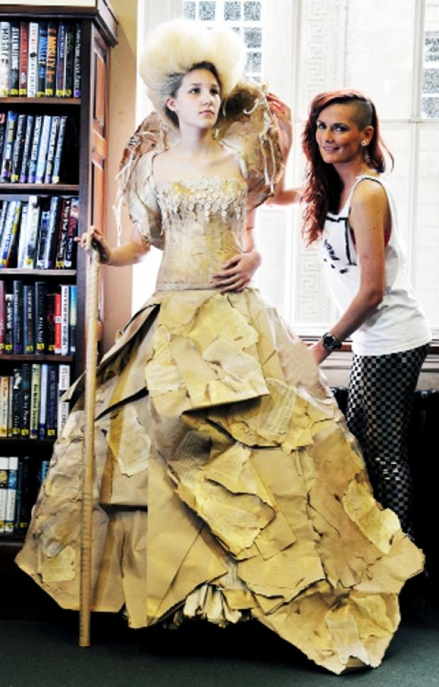 FULL OF CHARACTER Carrie-Ann Kay with model Sophie Concliffe in a creation inspired by Miss Havisham from Charles Dickens's Great Expectations.
