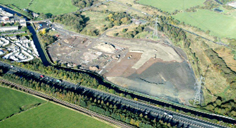 An aerial view of the former William Blythe factory site at Hapton