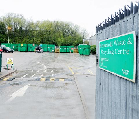 Pedestrians are not allowed in Darwen's recycling centre