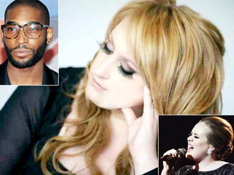 Waterfoot singer Lareena Mitchell and (insets) Adele and Tinie Tempah.
