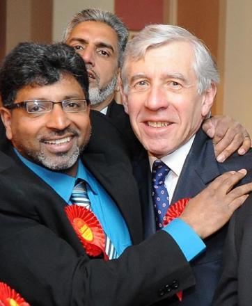 MP Jack Straw celebrates Labour's success.