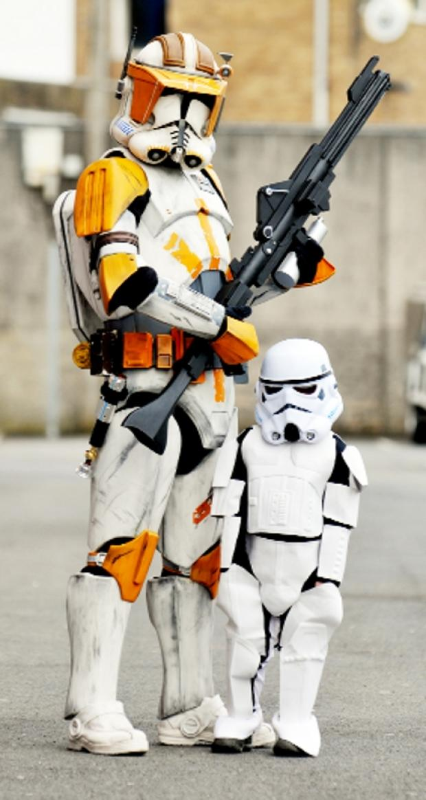 Lancashire Telegraph: SPACE AGE Rhys Foster, four, with Clone Trooper Cody