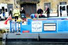 SECURITY Police in Burnley with the barge