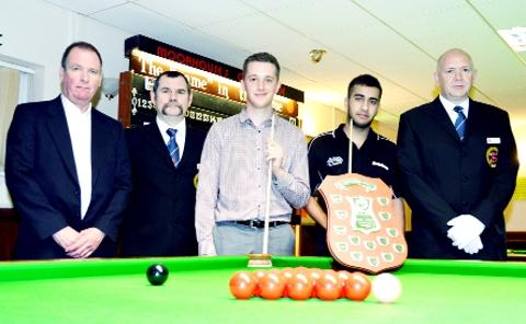 Finalists Peter Mercer and Farakh Ajaib with match referees and Glenn Wright of Moorhouse's (left)