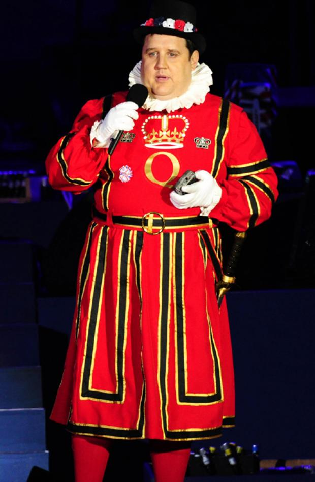 Peter Kay on stage in the costume