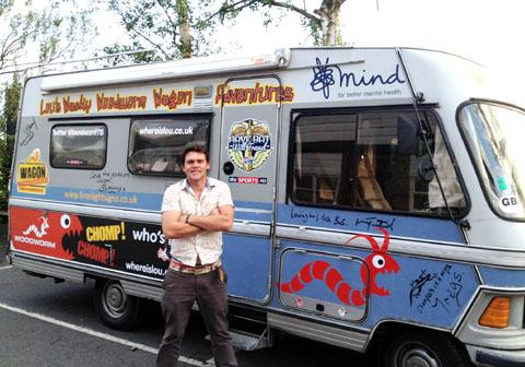 Lou Vincent toured the UK by bus for charity in 2012