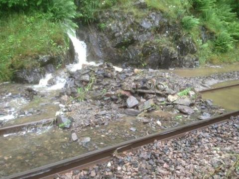 Debris on the line at Tebay. Photo: Network Rail