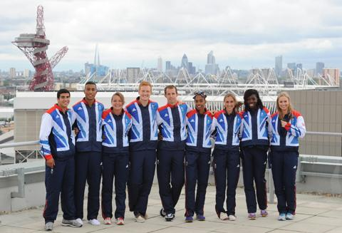 Team GB Olympic athletes Adam Gemili, Andrew Osagie, Goldie Sayers Greg Rutherford, Rhys Williams, Yamile Aldama, Lisa Dobriskey, Ankiya Onuoru and East Lancashire's Sophie Hitchon. Photo: Stefan Rousseau/PA Wire