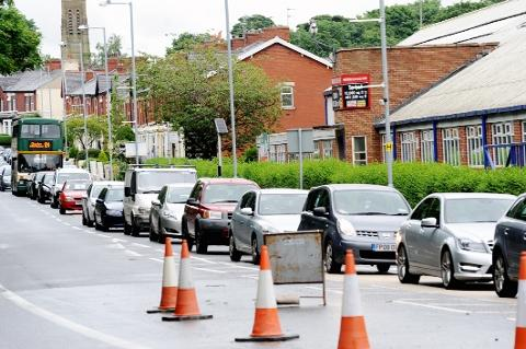 RUSH HOUR MISERY Traffic on Preston Old Road, Blackburn