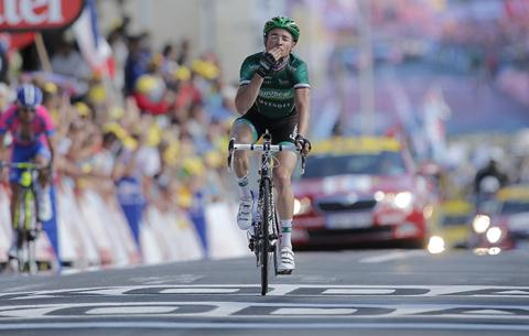 Fans' favourite Thomas Voeckler crosses the line to win today's stage of the Tour. His victory won't worry race leader Bradley Wiggins.