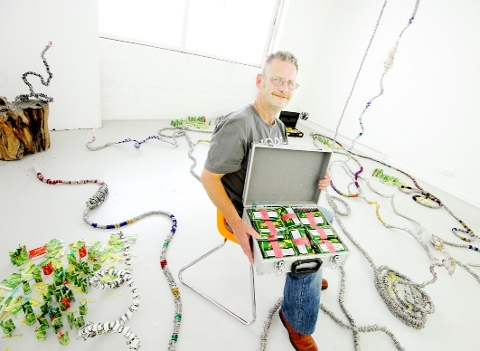 SYMBOLISM Nigel Goldie with his masterpiece, incorporating more than 60,000 aluminium ring-pulls