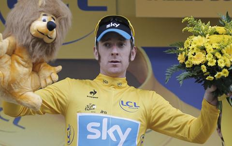 Wiggins on the podium today. Only a disaster can stop him winning the Tour.