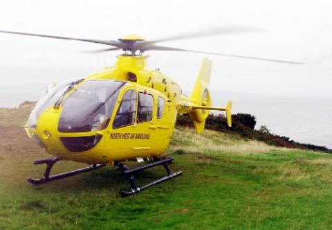 CRUCIAL  An air ambulance is ready to go to the rescue