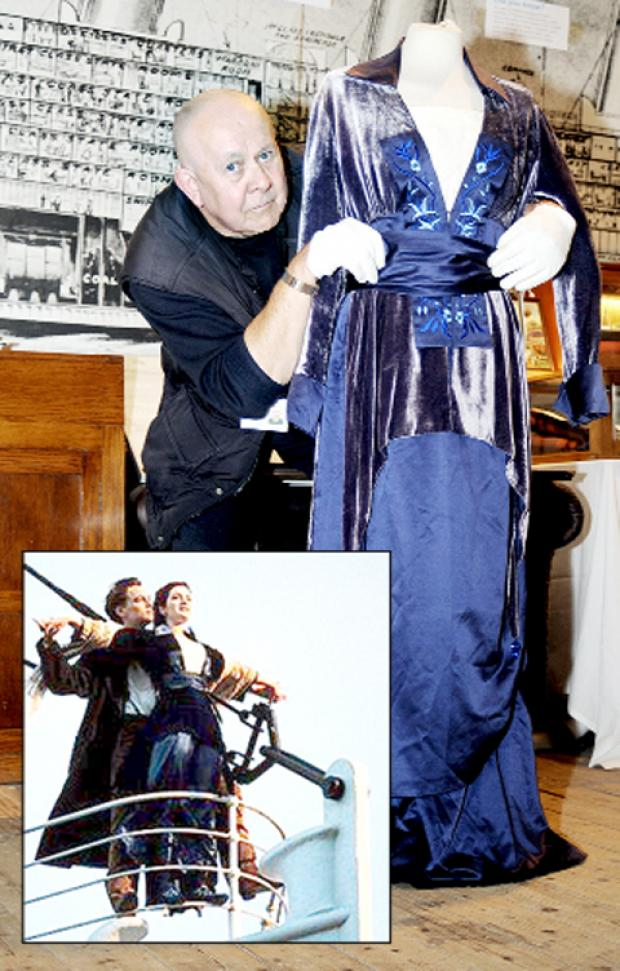 Derek Hartley with the costume from the film and (inset) Leonardo Di Caprio and Kate Winslet in the iconic scene