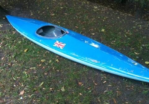 The canoe found in the River Ribble today