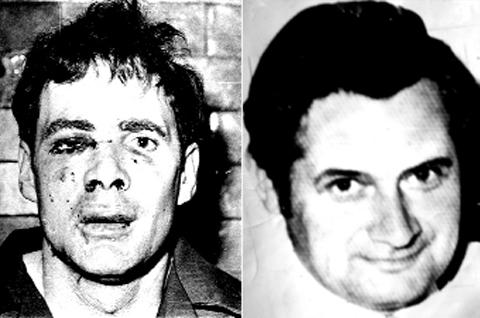 Killer Donald Neilson (left) and Baxenden postmaster Derek Astin