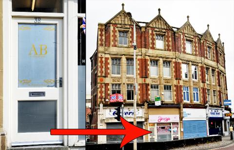 The business block in Railway road, Blackburn, where the massage parlour is situated. The highlighted door is not connected to Jinnys