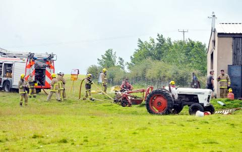 Firefighters at the farm in Robin House Lane