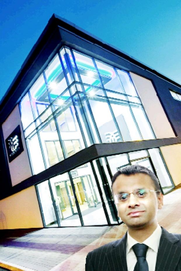 GLEAMING Accrol headquarters and, inset, managing director Majid Hussain