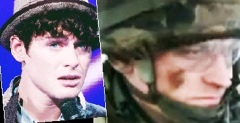 DUTY CALLS Jonjo in Afghanistan and, left, on the X Factor