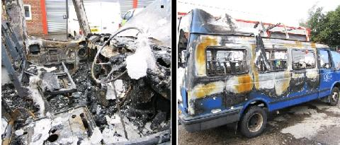 BURNT-OUT Police are investigating after a minibus had a window smashed before being set on fire, and a second minibus was damaged