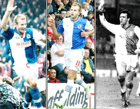 GREATS Jordan Rhodes (centre) has been tipped to emulate the likes of Alan Shearer (left) and Simon Garner (right)