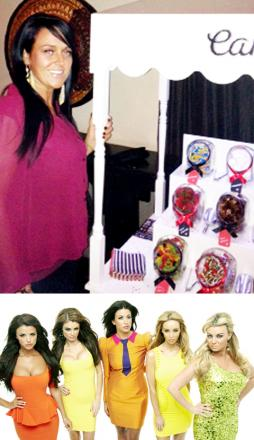 Deanne Perkins with her candy cart and (below) the cast of TOWIE
