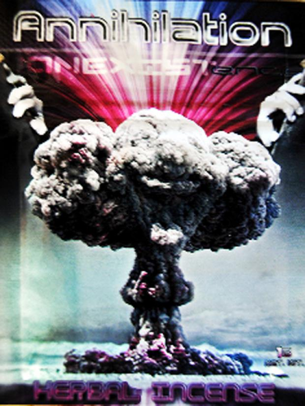 An atom bomb image on the 'Annihilation' packaging