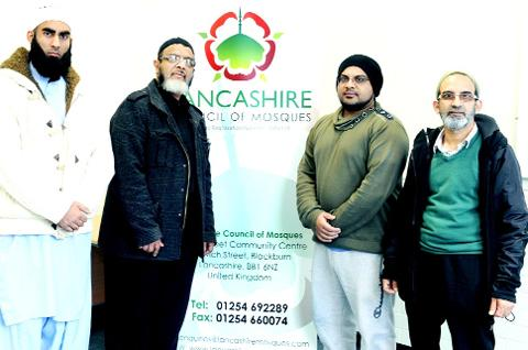 Monir Ashraf, Salim Mulla, Mohammed Kathrada and Javed Iqba from the Lancashire Council of Mosques