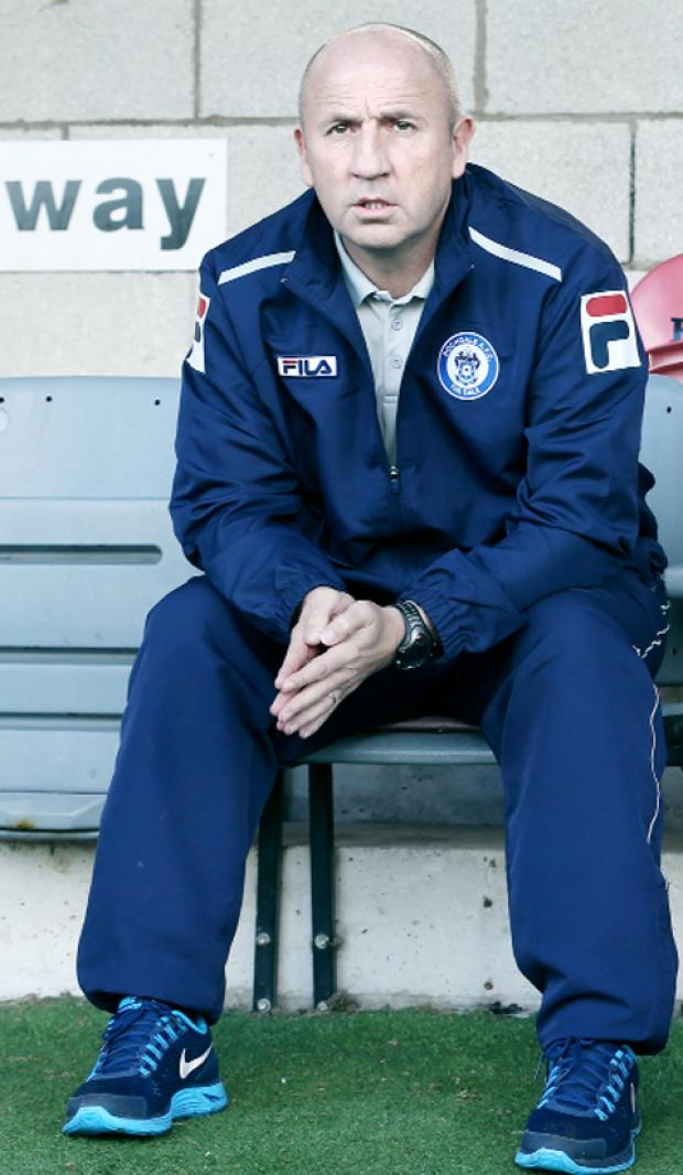 John Coleman in the away dug-out on Saturday