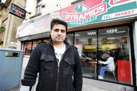 ANGRY Boss Masood Akhtar outside the Pyramids takeaway