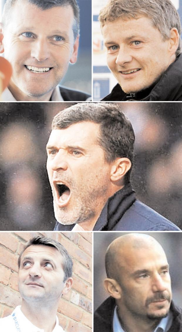 Simon Garner's contenders, from top left: Eric Black, Ole Gunnar Solskjaer, Roy Keane, Gianluca Vialli and his number one overall choice, Tim Sherwood
