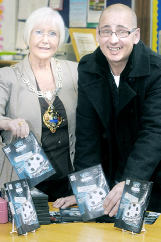 Darwen Mayor Eileen Entwistle with Darwen Days founder Dave Owen at the launch of the new DVD