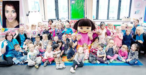 Dora meets Walton Lane children. Inset: Nick Jr's Helena Downing
